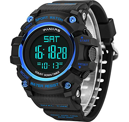 RCIN Digital Watch for Man,Military Sports Electronic Watches with 50m Waterproof Fashionable Simple EL Backlight Dual Time Alarm Chrono Calendar Date LED Screen Wrist Watch for Man, Blue