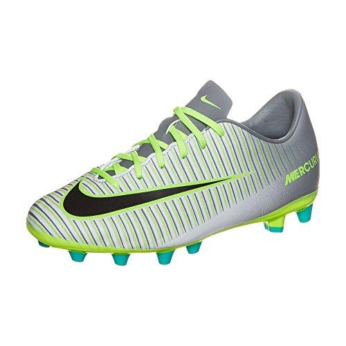 Nike Jr Mercurial Vapor Xi Ag, Botas de Fútbol para Niños Plateado (Pure Platinum / Black-Ghost Green)