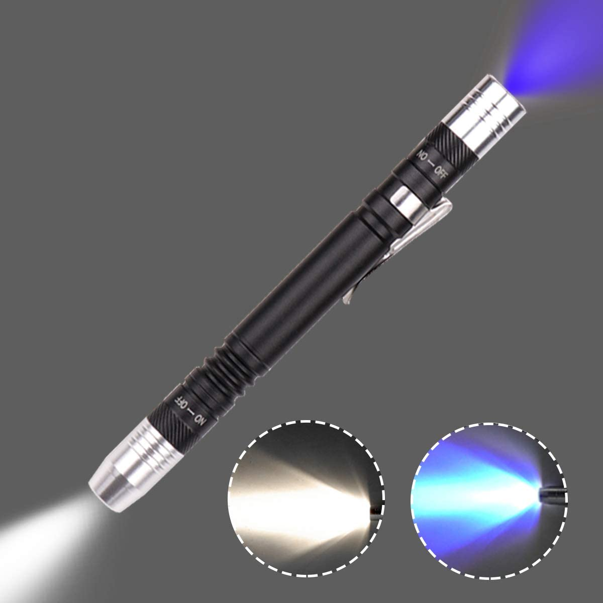 Detector de luz de la linterna Antorcha ultravioleta ultravioleta blanco púrpura para prueba Mini pluma UV linterna 395nm 2 en 1 linterna UV LED Fuente de luz Penlight Blacklight 2 (1 paquete)