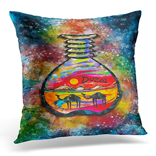 TOMKEYS Throw Pillow Cover Colorful Bottle Dubai Sand Souvenir Watercolor Gulf Traditional Decorative Pillow Case Home Decor Square 18x18 Inches Pillowcase