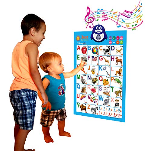 Just Smarty Electronic Interactive Alphabet Wall Chart, Talking ABC & 123s & Music Poster, Best Educational Toy for Toddler. Kids Fun Learning at Daycare, Preschool, Kindergarten for Boys & -