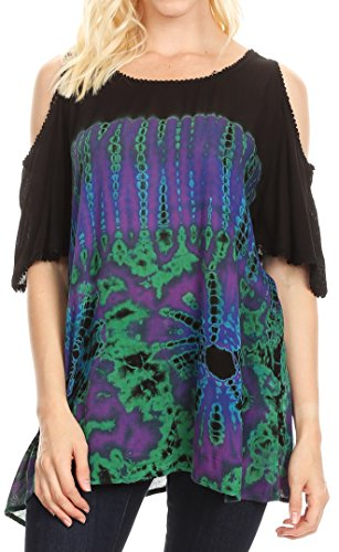 Sakkas 18789 - Luz Womens Cold Shoulder Bohemian Ethnic Style Blouse Top Tie Dye Flare - Purple - OSP