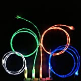 ShopAction flowingled128 Charging Cable - Glow in the Dark Light - Up Visible Micro USB for Samsung Galaxy S3/S4/S5/Note/HTC
