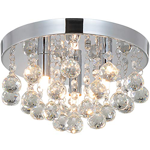 Crystal Chandeliers Flush Mount Ceiling Lamps Modern Ceiling Light Fixture 3 Lights,9.85 Inches Diameter,for Hallway Bedroom Living Room Kitchen Dining Room Bathroom. (Lights Ball Modern)