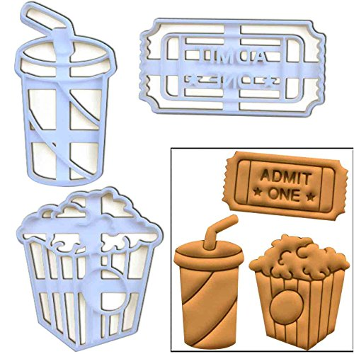 Themed Drink Tickets - Set of 3 movie themed cookie cutters (Popcorn, Admit One Ticket and Soft Drink), 3 pcs, Ideal for carnival party