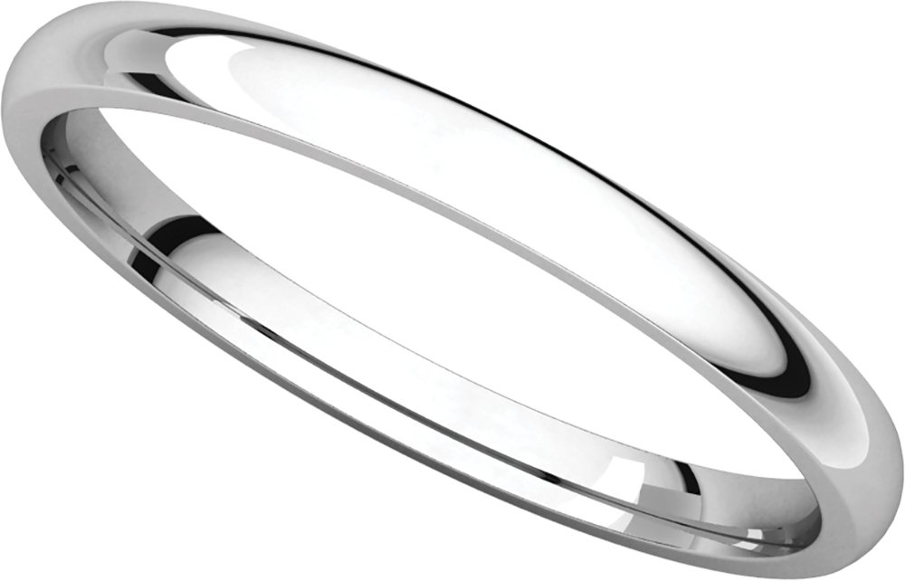 Women's Platinum 2mm Light Comfort Fit Domed Wedding Band Ring, Size 7.5 by Gembrooke Creations