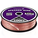 Fosmon [16 Gauge | 100ft] 16AWG Copper-Clad Aluminum (CCA) Speaker Wire with Red Polarity Mark