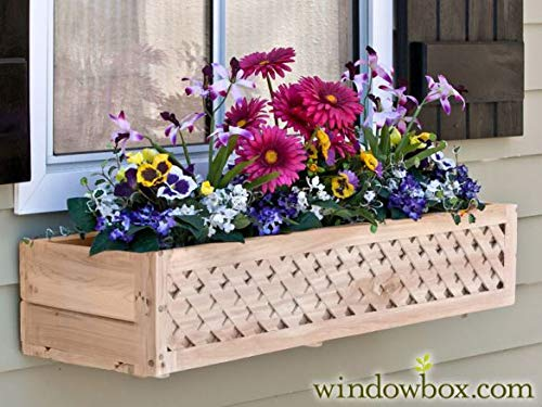 38 inch Lattice Cedar Wood Window Box w/Cleat Mount Bracket ()