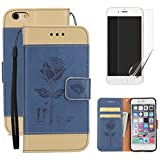 For iphone 6 Plus/6S Plus (5.5inch) Wallet Case with Screen Protector ,OYIME [Lovers Under Rose] Color Stitching Design Don't Touch My Phone Leather Kickstand Magnetic Holster with Card Holder Full Body Protective Flip Cover with Wrist Lanyard - Blue