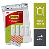 Command Sawtooth Picture Hangers, White, 4-Hangers, 8 Strips (PH040-4NA) - Easy to Open Packaging