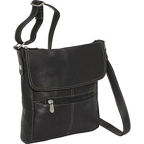 nt Flap Crossbody (Black) (Leather Front Flap)