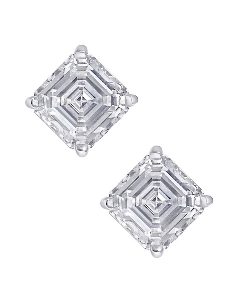 Clear Square Asscher Cut CZ Stone Sterling Silver Basket Set Stud Earrings 6mm