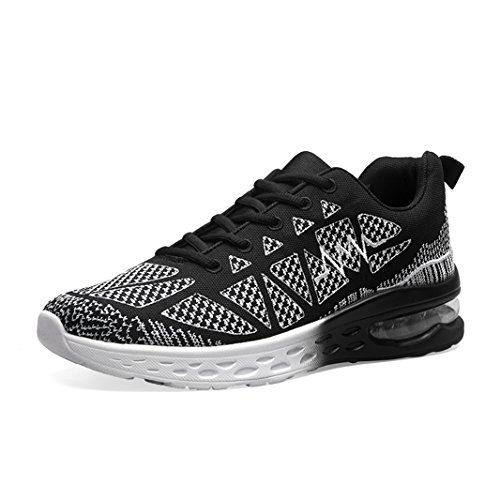 LSGEGO Women's Breathable Running Shoes Air Cushion Athletic Jogging Sneakers Lightweight Walking Shoes Women Fitness Sports Shoes (8-8.5 B(M) US, Black)