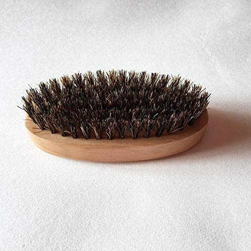 YC electronics Hair Brush Hair Comb Mens Boar Hair Bristle Hard Round Wood Handle Beard Mustache Brush Set by YC electronics