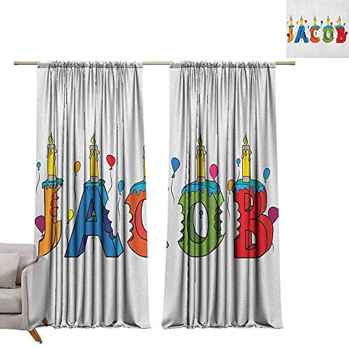 berrly Grommet Top Drapes Jacob,Cartoon Colorful Festive Letters Spelling Male Name Surprise Birthday Party Kids, Multicolor W96 x L96 Living Room Drapes (Nouveau Silver Letters)