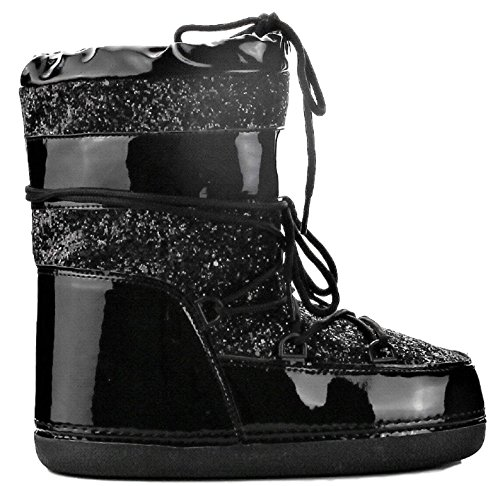 CAPE ROBBIN MB-11 Women Ankle High Ski Snow Winter Lace up Glitter Moon Boots Black 8 (Boots Moon Winter Snow)