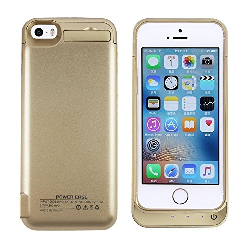 iPhone 5 Battery Case, SQDeal Portable 4200mah External Battery Charger Case Protective Cover Juice Power Bank for iPhone 5/5S/5C SE (Gold)