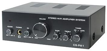 Dynavox CS-PA1 - Amplificador de audio (2.0, 50 W, 20-30000 Hz, 6.3 mm, 230 V), color negro