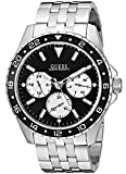 GUESS Stainless Steel + Black Bracelet Watch with Day, Date + 24 Hour Military/Int'l Time. Color: Silver-Tone