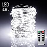 TORCHSTAR 98ft 300LEDs Fairy String Lights Dimmable with Remote Control, Waterproof Copper Wire