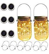 6 x Solar Mason Jar Lights and Handle/3 Fairy Sticker,6 Pack 30 Mason Jar Fairy Lights, Decor Ide...