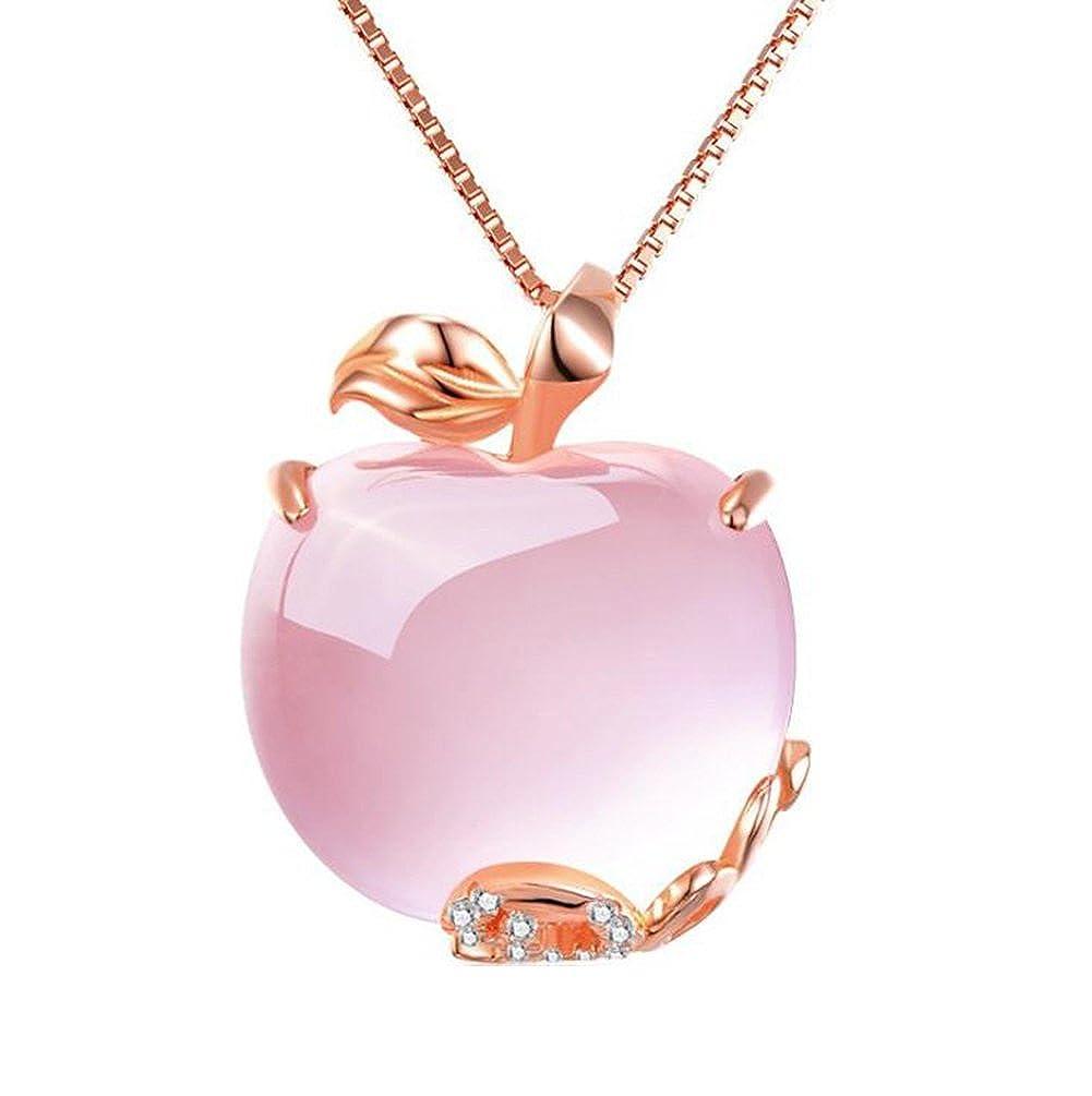 Qinlee Princesse Sweet Femmes Collier Pendentif Apple en Rose Dédié à cadeaux personnalisés Nouveau 2018, 13.63*15.83cm xl0001