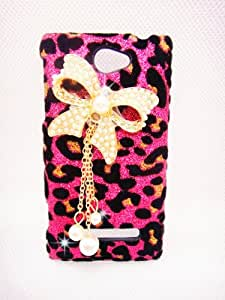 Luxury Pearl pink Leopard Crystal Diamond Rhinestones BOW bow-knot Butterfly Flower Transparent Back Hard Case Cover Shell for HTC Windows Phone 8X 6990 (Bow-knot)
