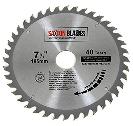 Tct18540t saxton tct circular wood saw blade 185mm x 30mm x bore x tct18540t saxton tct circular wood saw blade 185mm x 30mm x bore x 40t for bosch makita dewalt fits 190mm saws amazon diy tools greentooth Image collections
