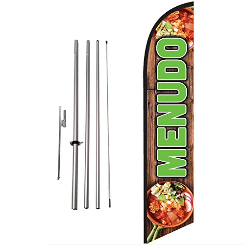 (Menudo Feather Flag Kit w/Ground Spike | Outdoor Mexican Food Advertising Swooper Flag Sign by Feather Flag nation)