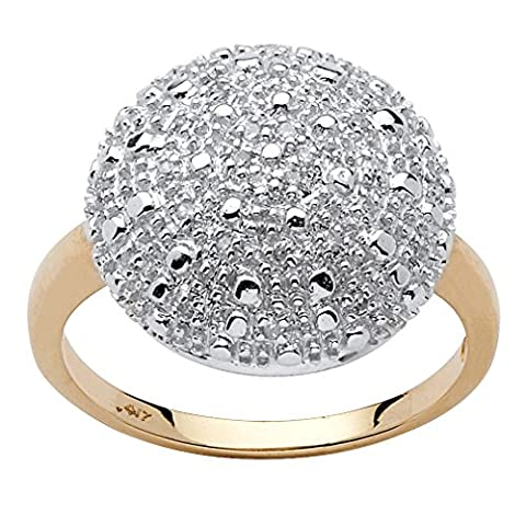 Round White Pave Diamond 10k Yellow Gold Cluster Ring (.15 cttw, GH Color, I3 Clarity) Size 6 - 10k Gold Cluster Ring