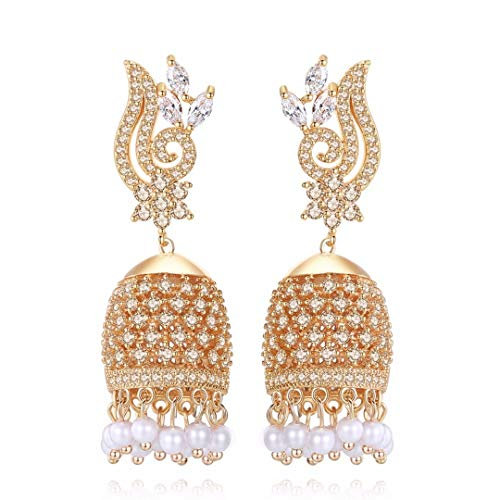 Detuonvsa Vintage Ethnic Handwork Birdcage Earrings Ethnic Trendy Jewelry for Women Circular Pearl Dangle Earring Champagne Gold Color