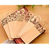 Everain Hollow Design Retro Wood Bookmarks Hollow Bookmarks With Mixing Pattern(Randomly Send) (5PC)