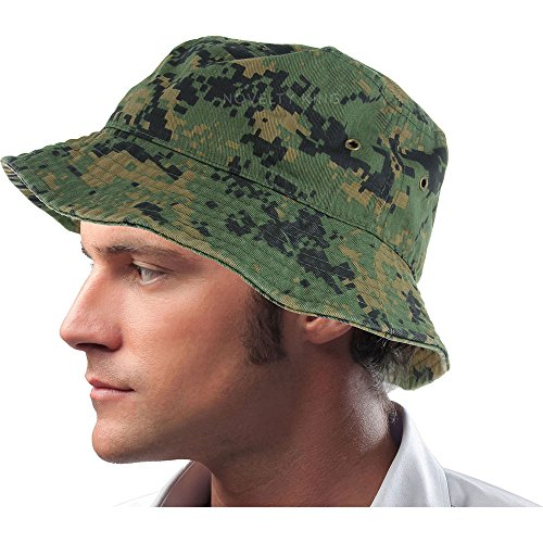 Mens 100% Cotton Fishing Hunting Summer Bucket Cap Hat (S/M, Digital Camo)