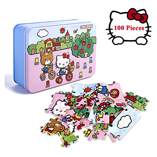 100 Piece Puzzles for Kids,Hello Kitty Puzzles for Kids in a Box Jigsaw Puzzles Mini Puzzles with Iron Storage Box for Children Gifts Developmental and Learning Toys -