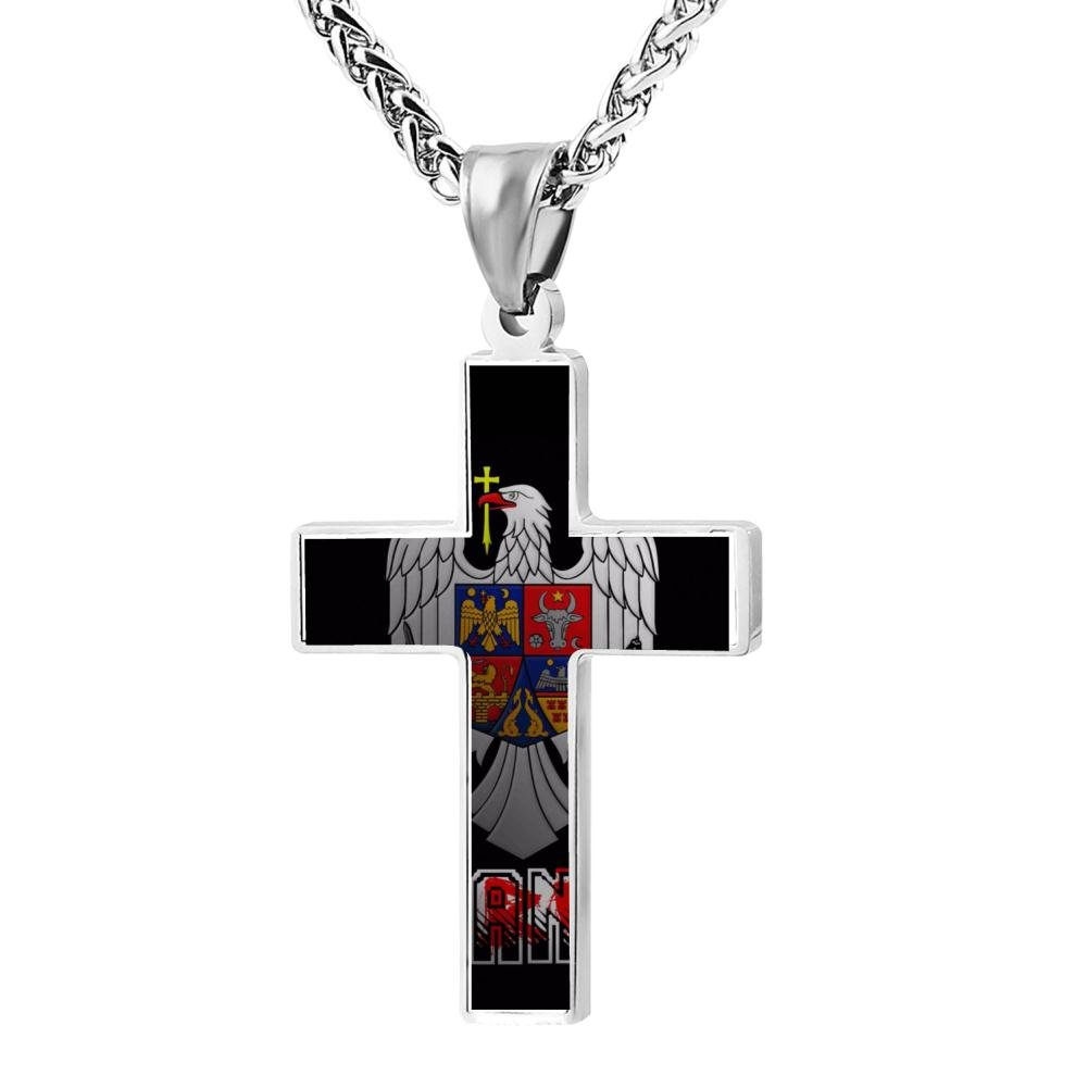 Cool Patriotic Cross Romanian pride coat Religious Lord's Zinc Jewelry Pendant Necklace