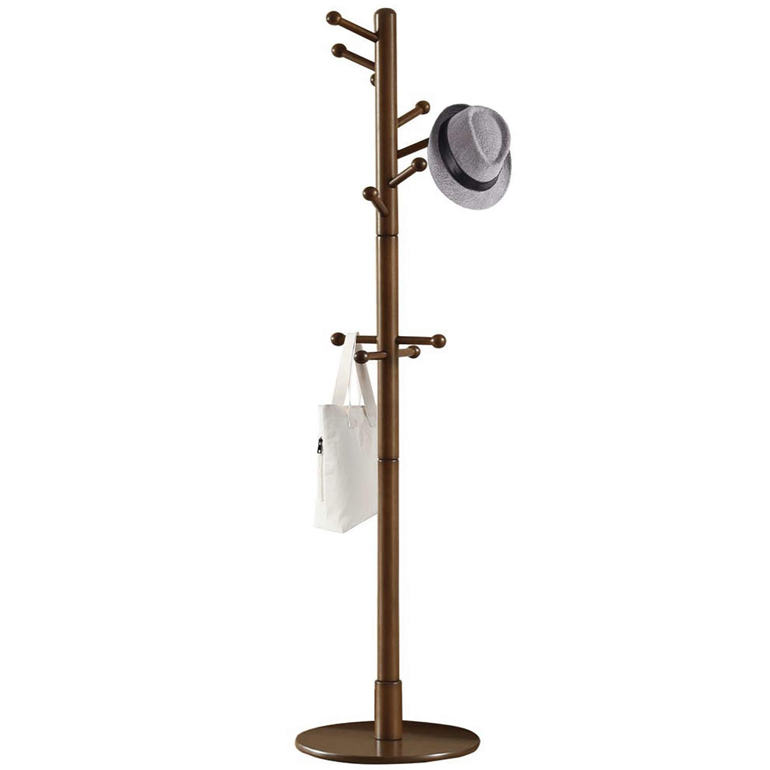 Vlush Sturdy Wooden Coat Rack Stand, Entryway Hall Tree Coat Tree with Solid Round Base for Hat,Clothes,Purse,Scarves,Handbags,Umbrella-(Dark Brown, 11 Hooks) by Vlush