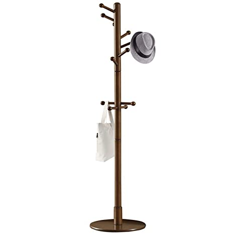 Vlush Sturdy Wooden Coat Rack Stand, Entryway Hall Tree Coat Tree with Solid Round Base for Hat,Clothes,Purse,Scarves,Handbags,Umbrella-(Dark Brown, ...