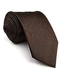 Shlax&Wing Mens Tie Solid Color Dark Brown Chocolate Necktie Silk Classic