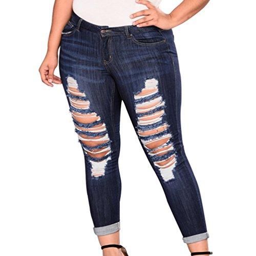 Donna Yuncai Dimensioni Profondo Elastico Denim Jeans Strappati Sexy Casuale Magro Blu Grandi Uqwzrx6qd