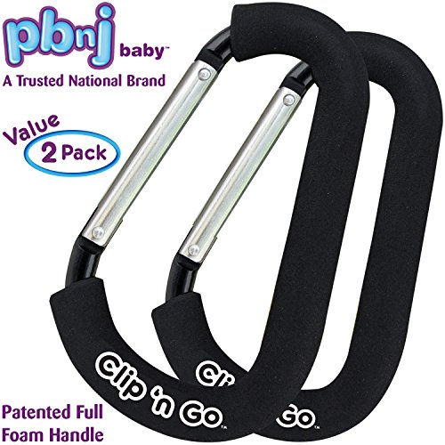 (PBnJ baby Clip n Go - 2 Pack X-Large Stroller Organizer Hook Clip for Purse Shopping & Diaper)