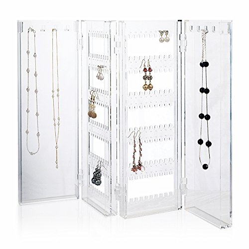 Foldable Earring and Necklace Holder - holds up to 120 pairs of earrings, with 8 necklace hooks
