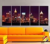 Original by BoxColors XLARGE 30''x 70'' 5 Panels 30''x14'' Ea Art Canvas Print Beautiful Atlanta skyline light buildings Multicolor Wall Home Office decor ( framed 1.5'' depth)