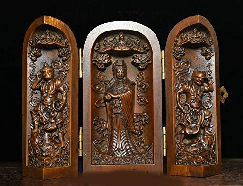 Wedding Decoration Old Chinese Boxwood Wood Carving matsu mazu Immortal Sea God Goddess Statue Box