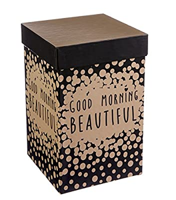 """Cypress Home Metallic Good Morning, Beautiful 17 oz Boxed Ceramic Perfect Travel Coffee Mug or Tea Cup with Lid - 3""""W x 5.25""""D x 7""""H"""