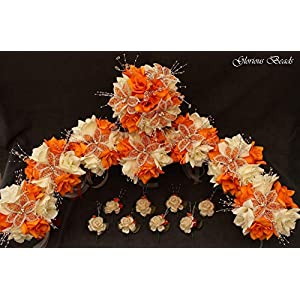 Wedding Flowers Orange and Cream/Ivory BEADED Lily Bouquet 16 piece package with boutonnieres. Perfect for Quinceanera. Other colors available in my Amazon store. 2