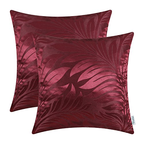 CaliTime Pack of 2 Throw Pillow Covers Cases for Couch Sofa Home Decor Shining & Dull Contrast Tropical Fern Leaf 18 X 18 Inches ()