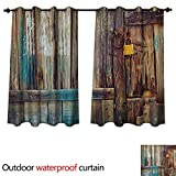 Anshesix Rustic Home Patio Outdoor Curtain Aged Shed Door Backdrop with Color Details Country Living Exterior Pastoral Mansion Image W84 x L72(214cm x 183cm)