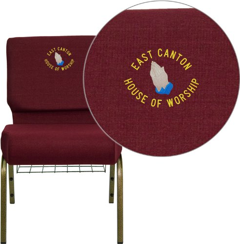 Flash Furniture Embroidered HERCULES Series 21'' Extra Wide Burgundy Church Chair with 4'' Thick Seat, Communion Cup Book Rack - Gold Vein (Book Rack Church Chair)