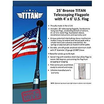Amazon Com Titan Telescoping Flag Poles Bronze 20ft