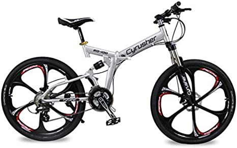 Extrbici Marco de suspensión completa y plegable para bicicleta de montaña Shimano M310 ALTUS 24 marchas de 17 pulgadas marco de aluminio MTB bicicleta doble mecánica de frenos de disco: Amazon.es: Deportes